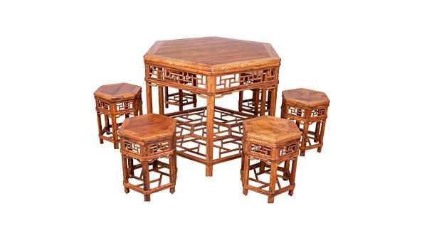 黄花梨休闲六角桌