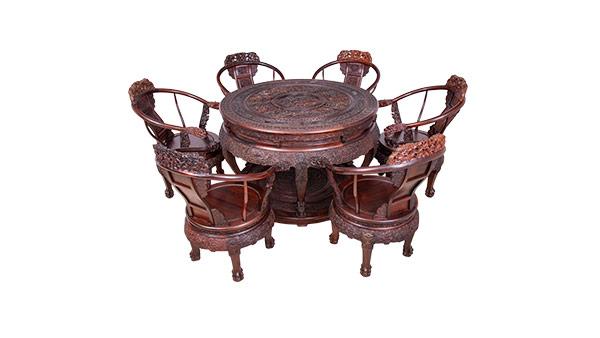 大红酸枝 雕龙圆桌