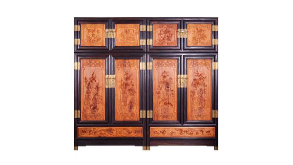 大叶紫檀镶黄花梨顶箱柜255×65×240